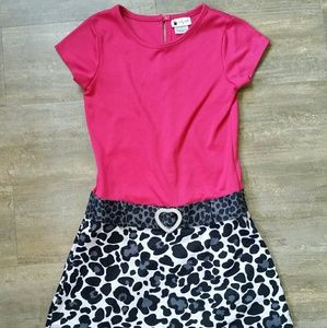 Emily West Pink Drop Waist Dress w/ Animal Print